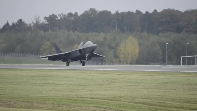 Two F22 Raptors forward deployed from RAF Lakenheath to conduct local air training Video shows F22s landing and being refueled
