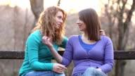 Two girls flirting
