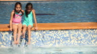 Two girls sitting on the ledge of a swimming pool
