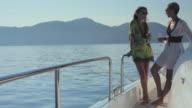 WS PAN Two glamorous women drinking champagne on Luxury Yacht / Portals Nous, Mallorca, Spain