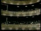 Prague National Theatre INT Curved balconies of auditorium as Vaclav Havel in addressing crowd Vaclav Havel speaking Curved balconies Havel speaking...