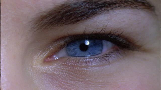 ECU, PAN Two human eyes blinking