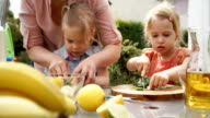 Two Little Girls Cutting Fruits for Smoothie