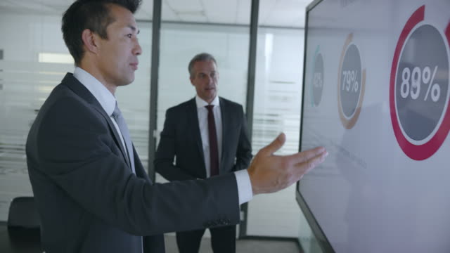 Two male colleagues discussing the financial presentation diagrams standing by the large screen in the meeting room