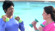 Two mature women exercising, lifting hand weights