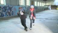 MS ZO two men dancing in warehouse, Gent, Belgium