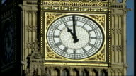 Two minute silence in remembrance of war dead ITN ENGLAND London Westminster MS Face of clock as Big Ben striking 11 o'clock to begin 2 minutes...