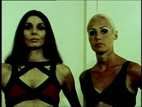 Two models modeling Rudi Gernreich designed swimwear 1970s swimwear on January 01 1971 in New York New York