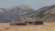 ZO Two old stables in a large field one nearly collapsing / Montana United States