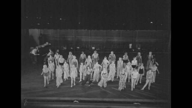 Two overhead shots of chorus girls on stage practicing dance routine / Note exact month/day not known