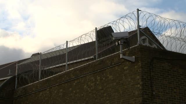 Two prisoners escape from Pentonville Prison General view barbed wire outside prison