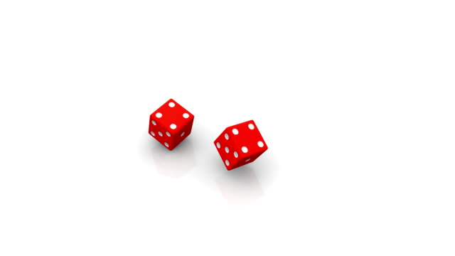 Two rolling red dice