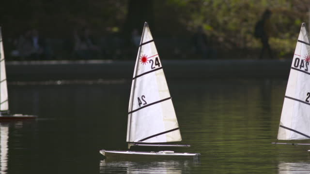 Two sailboats move together in Central Park.