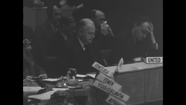 Two shots of William R Austin US Ambassador to UN speaking as he urges UN action regarding Chinese Communist military invasion of Korea to assist...