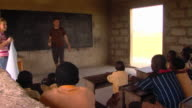 MS Two teachers showing world map to children in classroom, Tamale, Ghana