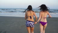Two teenager girls, sisters, runs into the water at the sea beach