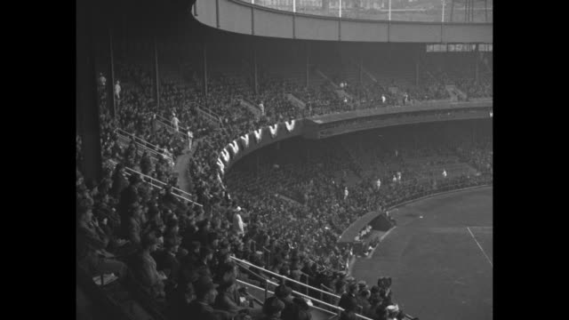 limousine is US President Franklin RooseveltÕs at the opening day of Washington Senators season at Griffith Stadium / two tiers of Polo Grounds...
