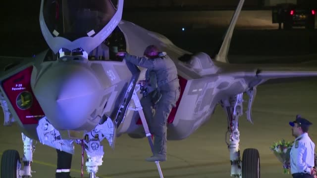 Two US F35 fighter jets have landed at Nevatim airbase in southern Israel where a welcoming ceremony took place