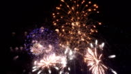 Two videos of fireworks colourful show
