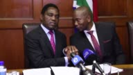 Two weeks after his release following over 120 days behind bars Zambian opposition leader Hakainde Hichilema gives a joint press conference in Cape...