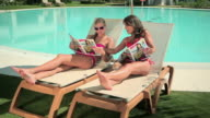 Two women reading magazines on sunloungers at poolside