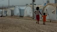 Two Yazidi children walking in Yazidi refugee camp in northern Iraq For the approximately 20000 people living inside this refugee camp in northern...