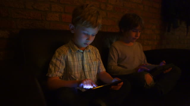 Two young brothers using tablets
