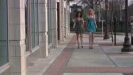 Two young girls women walking. Sexy short dresses. Shopping.