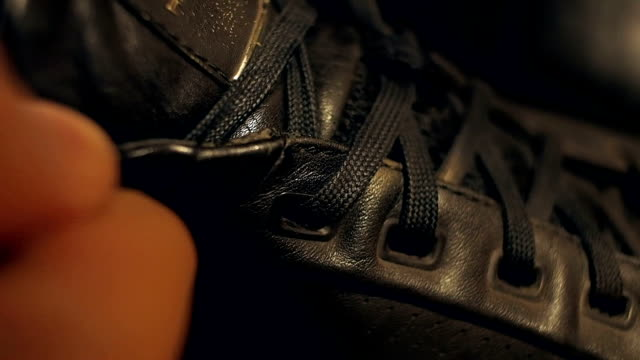 Tying shoelaces close-up