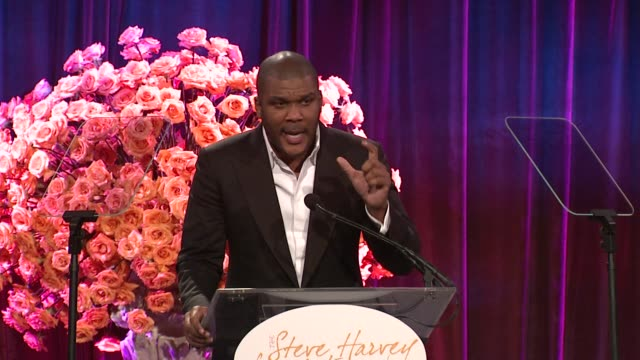 Tyler Perry describes how prayer and his upbringing influenced his role as father at the Steve Harvey Hosts 2nd Annual Steve Harvey Foundation Gala...