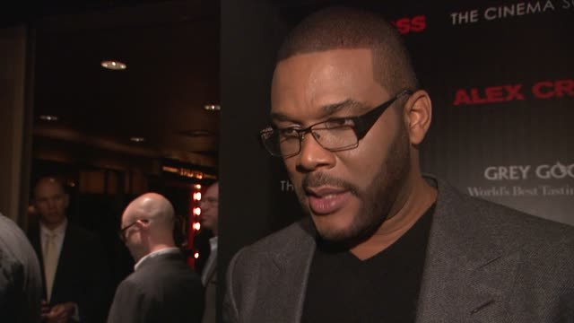 Tyler Perry discusses his character at The Cinema Society Grey Goose Host A Screening Of 'Alex Cross' at Tribeca Grand Screening Room on October 18...