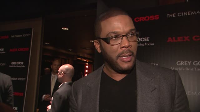 Tyler Perry on his new film at The Cinema Society Grey Goose Host A Screening Of 'Alex Cross' at Tribeca Grand Screening Room on October 18 2012 in...
