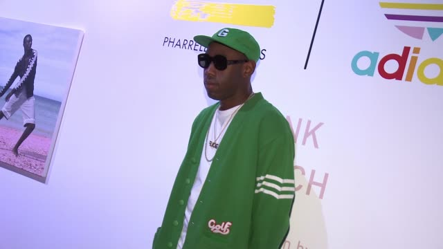 Tyler the Creator at adidas Originals = PHARRELL WILLIAMS Pink Beach Launch S/S16 on May 13 2016 in West Hollywood California