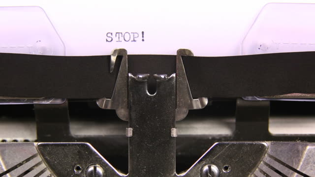 HD STOP TECH SPORTS typed  on an old typewriter