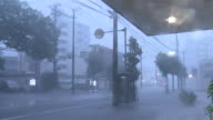 Typhoon Goni Strong wind and rain blowing sideways and causing floods on the road Rain drops falling on the camera lens and blurring the sight