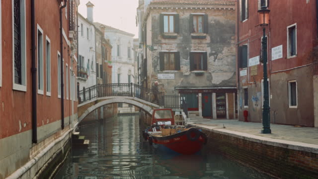 MS - Typical canal of Venice, people walking on the bridges