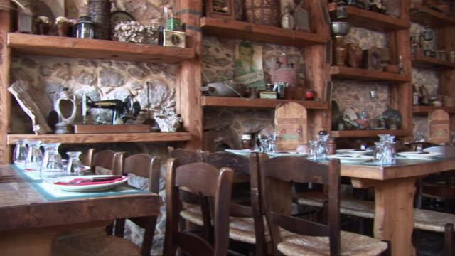 WS PAN Typical Greek tavern / Taygetos peninsula, Peloponnese, Greece