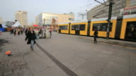 Typical yellow Tram in Berlin streets-Alexanderplatz