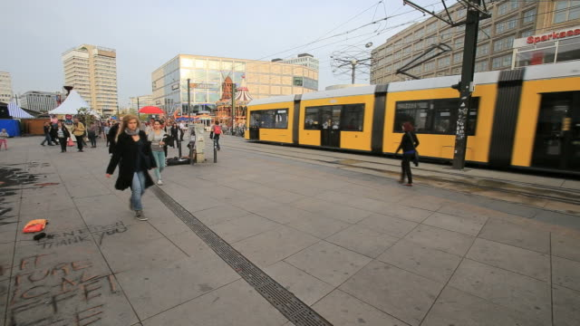 Typical yellow Tram in Berlin streets-Alexanderplatz