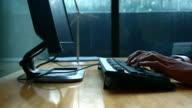 Typing fingers push keyboard in office, 4K(UHD)