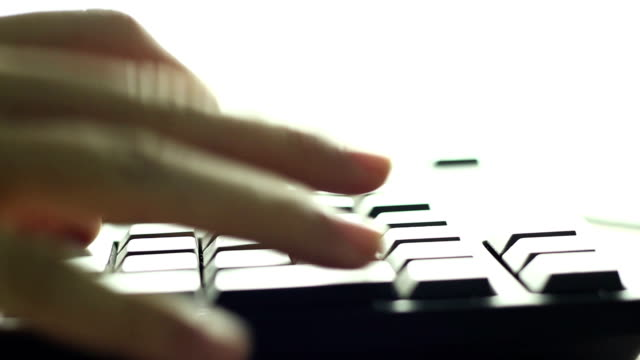 Typing fingers push Keyboard