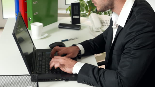 Typing on laptop keyboard