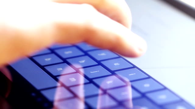 typing on touch screen digital tablet