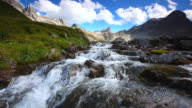 tyrolean cascade near the memminger hut, alps, austria, tirol