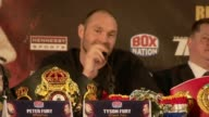 Tyson Fury and Wladimir Klitschko press conference John Rawling press conference SOT SWEARING *** Wladimir Klitschko SOT Tyson Fury SOT Fury and...