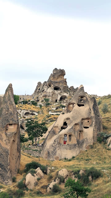 Uchisar castle and unique geological formations in Cappadocia