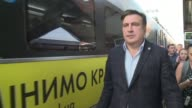 Ukrainian authorities on Sunday blocked a train in Poland carrying stateless former Georgian president Mikheil Saakashvili as the firebrand...
