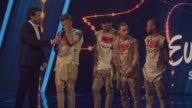 Ukrainian band OTorvald celebrates victory at the final of the Ukrainian national qualification for the Eurovision Song Contest in Kiev Ukraine 25...