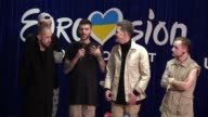 Ukrainian band OTorvald speaks with journalist after the final of the Ukrainian national qualification for the Eurovision Song Contest in Kiev...