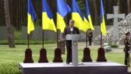 Ukrainian President Petro Poroshenko gives a speech during a ceremony to commemorate victims of political repression of the Soviet regime at the...